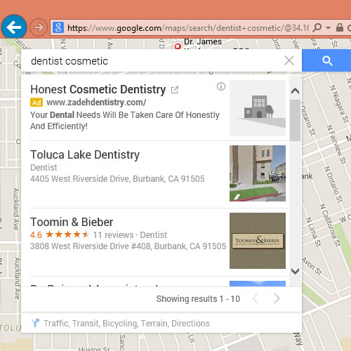 Google Maps Local Result